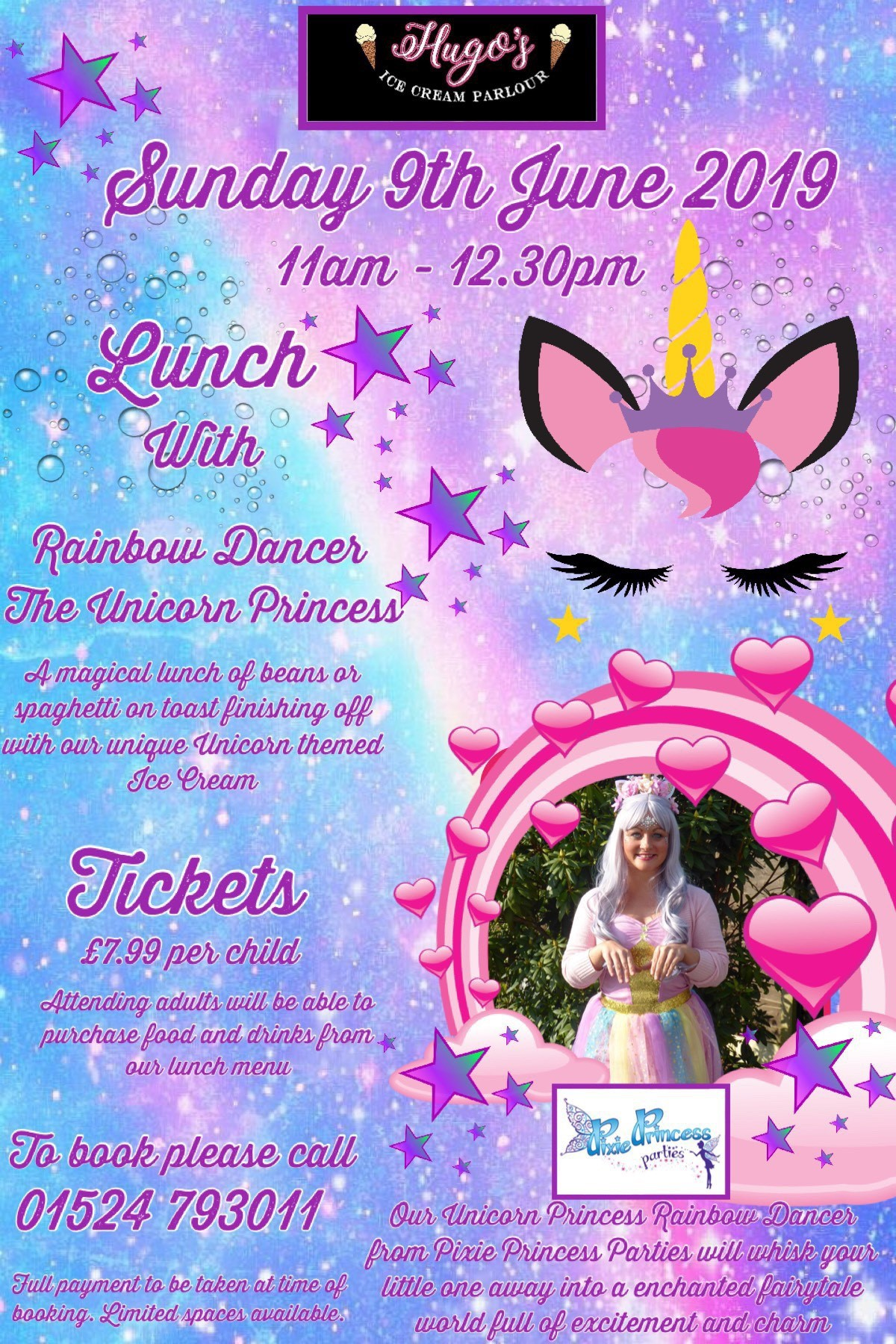 Sunday 9th June     Lunch with Rainbow Dancer our Unicorn